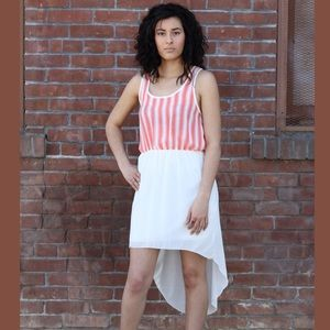Coral and White Striped High Low Dress
